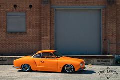 Little Orange Car (Eric Arnold Photography) Tags: vw volkswagen ghia karmann karmannghia orange low lowered lowrider brick wall building roy ut utah photoshoot feature magazine canon 80d canon80d