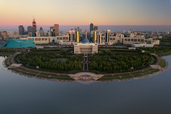 The Glorious Nation of Kazakhstan (Andrew G Robertson) Tags: astana kazakhstan skyline palace cityscape drone dji mavic sunrise presidential астана
