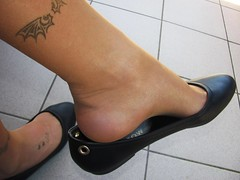 "new ""Rainbow"" leather ballerinas and nylons, balcony shoeplay (Isabelle.Sandrine2001) Tags: 2pairofshoes shoes leather pumps ballerinas ballet flats nylons stockings tattoos legs feet shoeplay dangling"