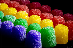 Gumdrop Rainbow (iecharleton) Tags: macromondays candy macro vibrant closeup food texture gumdrop rainbow blackbackground yummy