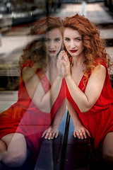 reflection (Irena Rihova) Tags: czphoto red dress model woman young redhair hair curly redlips lips fashion reflection beautiful beauty