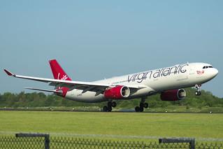 Virgin Atlantic Airbus A330-343 G-VKSS landing at Manchester on 28-05-2018