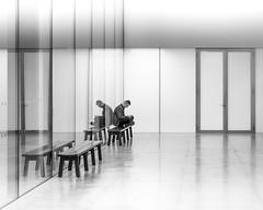 Urban Meditation (Dan Portch) Tags: street photography tate modern london mono minimal monochrome high key lone meditate person interior building contemporary art fine chairs bench greys greyscale