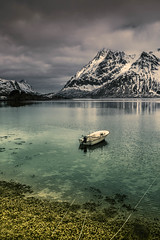 Cold and appealing nature (Sizun Eye) Tags: sildpollnes lofoten norway fjord mountain snow cold boat lonely wildness peaceful tranquility sizuneye nikond750 tamron2470mmf28 tamron