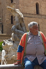 Six-pack vs. one-pack (chipje) Tags: street man fountain statue belly sixpack monreale sicily italy