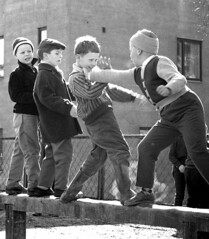 An interesting fight (theirhistory) Tags: children kids boys hat coat jacket shoes trousers wellies boots jumper