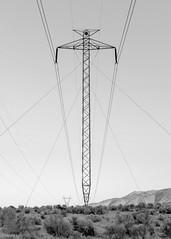 Upright (dwblakey) Tags: california owensvalley blackandwhite monochrome millpond easternsierra bishop tungstenhills pylon electricity junk powerlines unitedstates us
