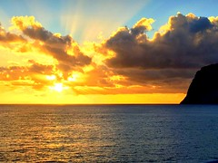 Madeira Sunset (dimaruss34) Tags: newyork brooklyn dmitriyfomenko image portugal madeira sky clouds sunset ocean cliff sunrays reflection water svetlanafomenko