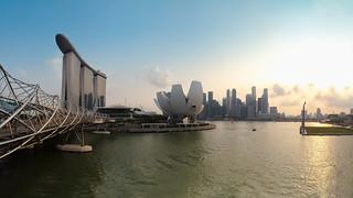 Singapore city skyline Marina bay at sunset, Singapore