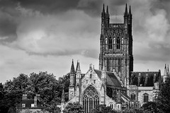 Worcester Cathedral mono (alan.dphotos) Tags: worcester cathedral church religion building architecture old clouds rainclouds trees historical renovated