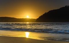 Shimmering Sunrise Seascape with Sun (Merrillie) Tags: daybreak sunrise landscape ettalongbeach nature dawn sea water centralcoast morning oceanbeach newsouthwales waves uminabeach nsw waterscape beach ocean earlymorning ettalongbeachpoint cloudy coastal clouds sky seascape australia coast outdoors seaside