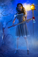 Never argue with women! I`ve said it - never! (Ilami Yasna) Tags: fantasy fairytale mist mystic dramatic horror axe girl night portrait studio noire lantern forest thicket colorgels decoration fog homestudio foggy fogmachine halloween scary nophotoshop