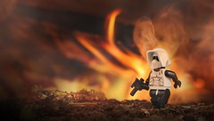 Playing with Fire (CozzD) Tags: endor lego scout trooper imperial mini figure return jedi forest moon speeder bike fire