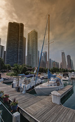 Overcast (brightledge photography) Tags: boats skyline chicago pier clouds harbor marina lake