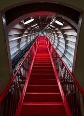 Red Stairs (Atomium 3) (Andreas.Huppert) Tags: abstract aluminium architecture atomium ball belgium bruxelles color door iron lamps light metal red staircase stairs travel be