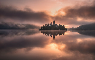 Lake Bled on a misty summer morning