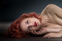Beautiful, just beautiful (Irena Rihova) Tags: czphoto redhair woman portrait portraiture womanportrait curly hair redlips lips makeup face eyes laying hands beauty beautiful naturallight light natural