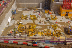 Squaring the Circle (Michael Goldrei (microsketch)) Tags: uk square x100t workers england triangle street birdseye mai traffic red photos above photographer st photography fuji overhead builders may white photo x caution building cones squares shapes european birds triangles yellow xseries site fujifilm build eye work 2018 construction spring 18 fujilovers view manchester britain series europe manc men