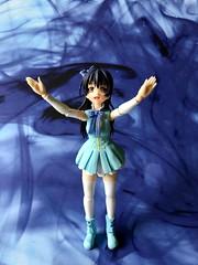 Umi Blue (Sasha's Lab) Tags: umi sonoda 園田海未 lovelive ラブライブ high school idol stage costume startdash teen girl figuarts shfiguarts bandai action figure toy blue ink backdrop