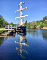 The Lady of Avenel - Caledonia Canal (Andy.Gocher) Tags: andygocher iphone uk scotland theladyofavenel thecaledoniacanal thegreatglen reflection tallship water sailing