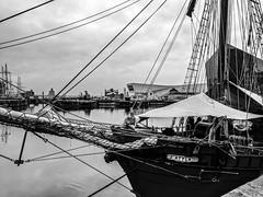 The Atyla, Liverpool Tall Ships Festival 25.5.18 (bobbex) Tags: bw blackwhite mersey merseyside liverpool albertdock tallships tallship boat ship sail