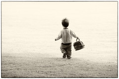 The Future is Bright (westcoastcaptures) Tags: monochrome sepia boy bag toddler zach bright backlit contrast sunlit artistic candidart sonya99ii minolta8020028apohsg