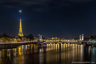 Eiffel tower and the moon at Paris