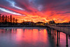 The fiery sunrise (Eva Janku) Tags: sunrise dawn fiery fire clouds magic magical long exposure reflection pink incredible outdoor sony alpha australia adelaide aus beach