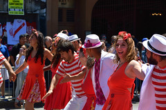 Carnaval Parade SF 15 (TheseusPhoto) Tags: feathers girls faces colors colorsoftheworld people candid streetphotography street carnaval carnaval2018 carnavalsf parade costume dance dancing fun joy laughing smile red stripes couples