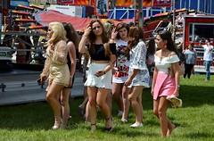 Fairground Girls (PD3.) Tags: fairground fair ground girls girl ladies lady legs tan travelers bus buses coach psv pcv grandstand races racing derby 2018 epsom downs epsomdowns surrey investec
