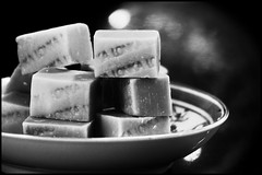 SWEET - FUDGE! (Ageeth van Geest) Tags: 7dwf bokeh sugar sweet candy macromondays food macro bw blackandwhite monochrome