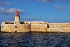 Lighthouse (Douguerreotype) Tags: light stairs steps malta blue red valletta water architecture