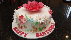 Beautiful Flower cake (Victorious_Sponge) Tags: flowers flower pink manchester bee gold birthday cake