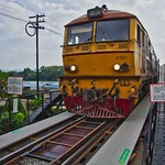 Train crossing the infamous bridge over the river Kwae Yai, Kanchanaburi, Thailand thumbnail
