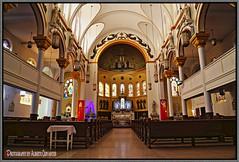 SAINT CECILIA &  HOLY AGONY CATHOLIC CHURCH, EAST HARLEM. IGLESIA. NEW YORK CITY. (ALBERTO CERVANTES PHOTOGRAPHY) Tags: church iglesia saintceciliaholyagonycatholicchurch saintcecilia holyagonycatholicchurch catholic holyagony arquitectura architecture hall cruz cross reflejo reflection indoor outdoor blur luz light color colores colors brightcolors brillo bright colorlight retrato portrait photography photoborder inside interior manhattan usa nyc newyork saint cecilia fe faith holy hope belief elbarrio barrio harlem eastharlem