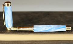 Pearl Sky Blue Fountain Pen - Beaufort Nib (BenjaminCookDesigns) Tags: fountainpen custom bespoke engraved personalised classic vintage artdeco style gift birthday christmas fpgeeks fpn giftforhim giftforher füllfederhalter blue pearl
