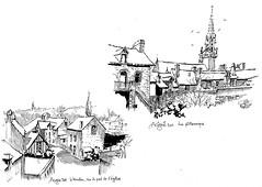 Le moulin d'Acigné et vue  des arrières de la rue de Calain, en 2011