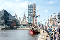 Tall Ship Visitors at Canning Dock Liverpool (Bob Edwards Photography - Picture Liverpool) Tags: waterfront barge boat transportation vessel watercraft crowd human parade person dock pier canal outdoors water building city town urban yacht bicycle bike cyclist river port people road street harbor market shipsprow liverpool canningdock albertdock merseyside sky blue clouds buildings tallships bobedwardsphotography pictureliverpool