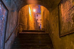 Steps and a Light (dcnelson1898) Tags: montepulciano tuscany italy town wine travel vacation countryside nightphotography dawn longexposure