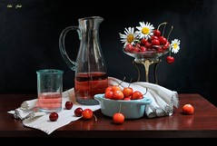Break Time of the Year (Esther Spektor - Thanks for 12+millions views..) Tags: stilllife naturemorte bodegon naturezamorta stilleben naturamorta composition creativephotography june tabletop food cherry flowers daisy beverage juice pitcher bowl stand cup napkin glass linen metal ambientlight reflection white yellow red orange blue brown black estherspektor canon ceramics