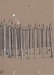 Pencil farm in ink. (Klaas van den Burg) Tags: pencils ink crownpen white black farm