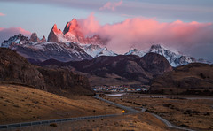 Early Days at El Chalten, Argentina (beautifullcreatures) Tags: argentina national park cloud town village river road andes mountain peaks light weed trees