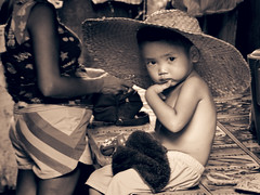 Big Hat (Artypixall) Tags: philippines manila market youngboy child hat blackandwhite streetscene