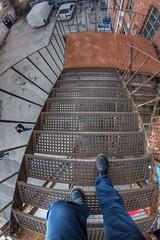 Fire Escape (D-W-J-S) Tags: flickr dundee fire escape steps stairs industrial feet legs high height vertigo canon 1 tokina 1017mm fisheye lens