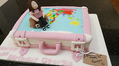 Travelling 21st cake (Victorious_Sponge) Tags: travel travelling plane case suitcase pink world map atlas 21st 18th 30th 40th birthday cake