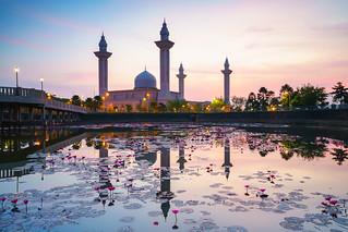 Tengku ampuan jemaah mosque or bukit jelutong mosque during beautiful sunrise, Kuala Lumpur Malaysia