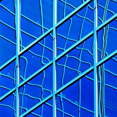 Layers of lines on Blue - Square (2n2907) Tags: onblue glass reflection blue abstract wiggly lines window canon t4i digital dslr bloomington minnesota