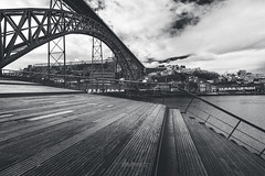 Early morning blues (RuiFAFerreira) Tags: architecture beauty bw black blackwhite wide white waterscape canon cityscapes mood monochromat monochrome efs1018mmf4556isstm exterior bridge landscape portugal porto river stairs urban uwa