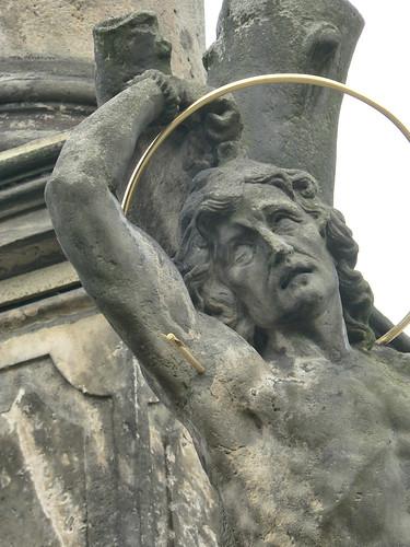 Opočno, detail (sv. Sebastian) z mariánského sloupu na Kupkově náměstí-P1150462p
