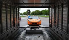 IMG_5765: Rollout (i_am_lee_sam) Tags: 2018 lotus corps track day blackhawk farms raceway il exige trailer orange